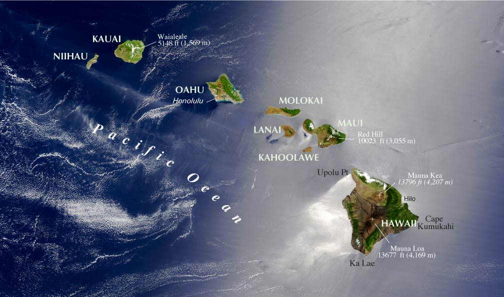 hawaii islands topographic map