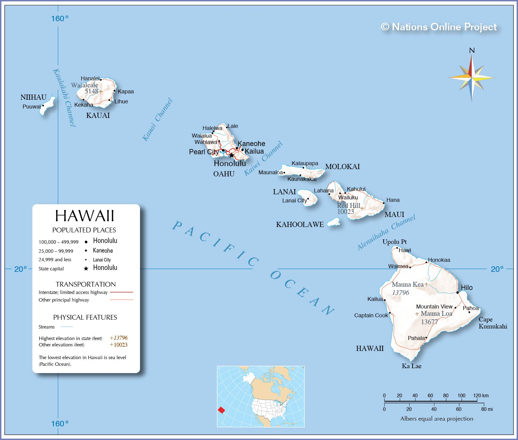 Reference Map Of Hawaii USA Nations Online Project - Us map including hawaii