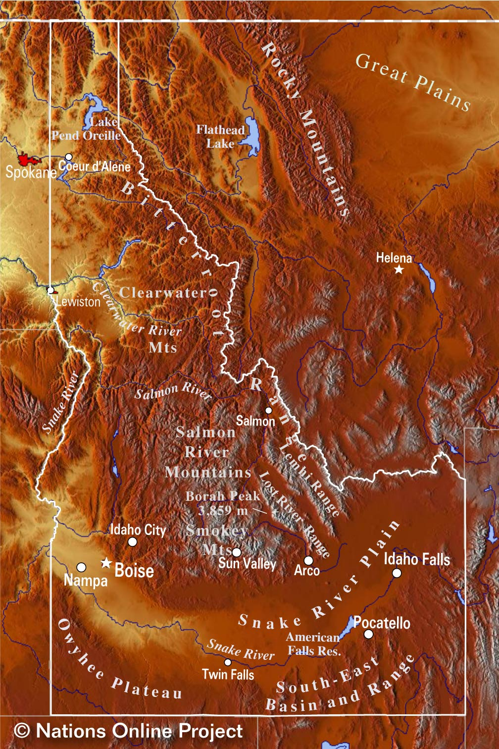 Topographic Regions of Idaho Map