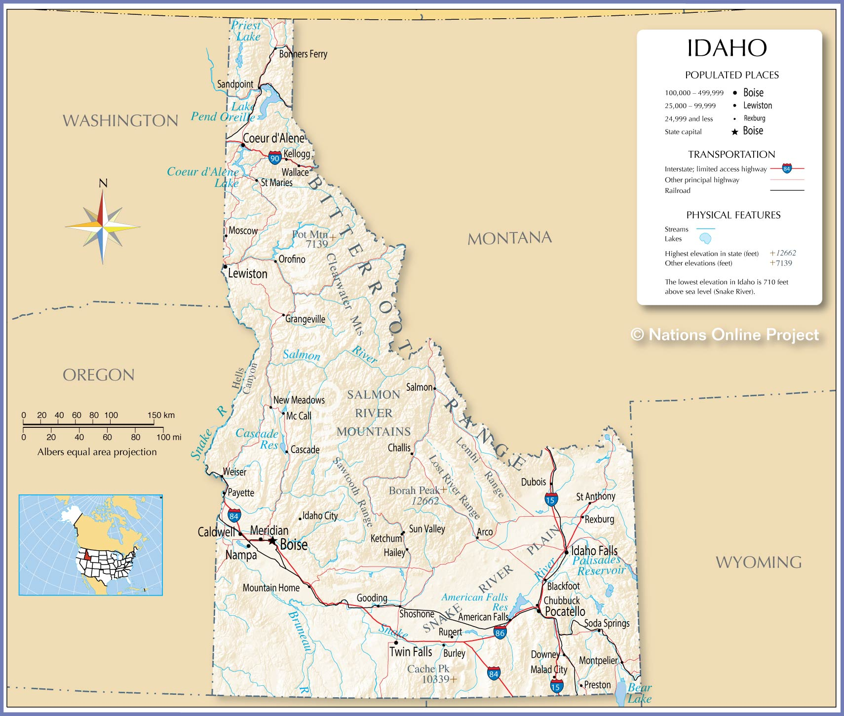Reference Map Of Idaho USA Nations Online Project - Physical map of idaho