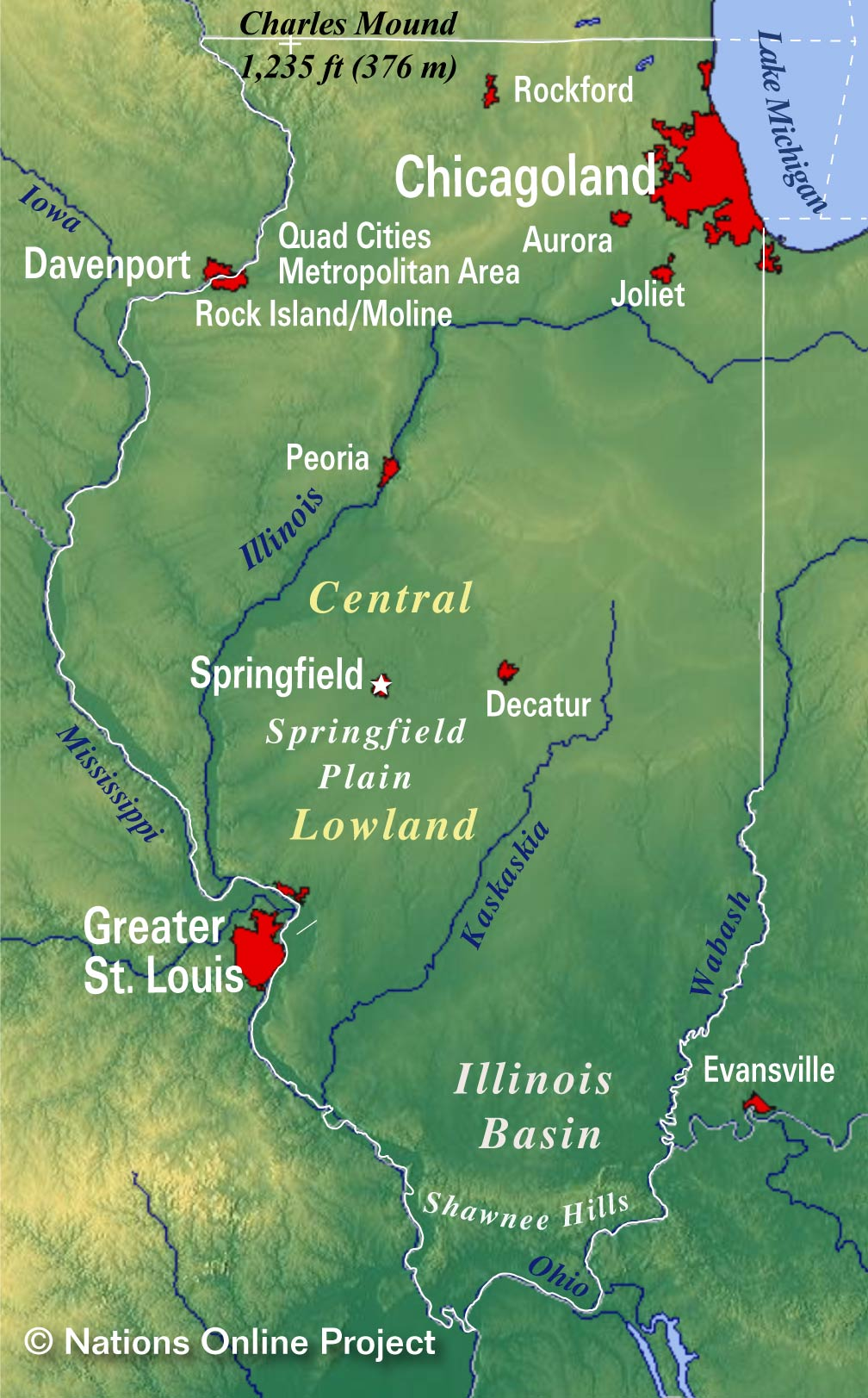 Southern Illinois Map With Cities.Reference Maps Of Illinois Usa Nations Online Project