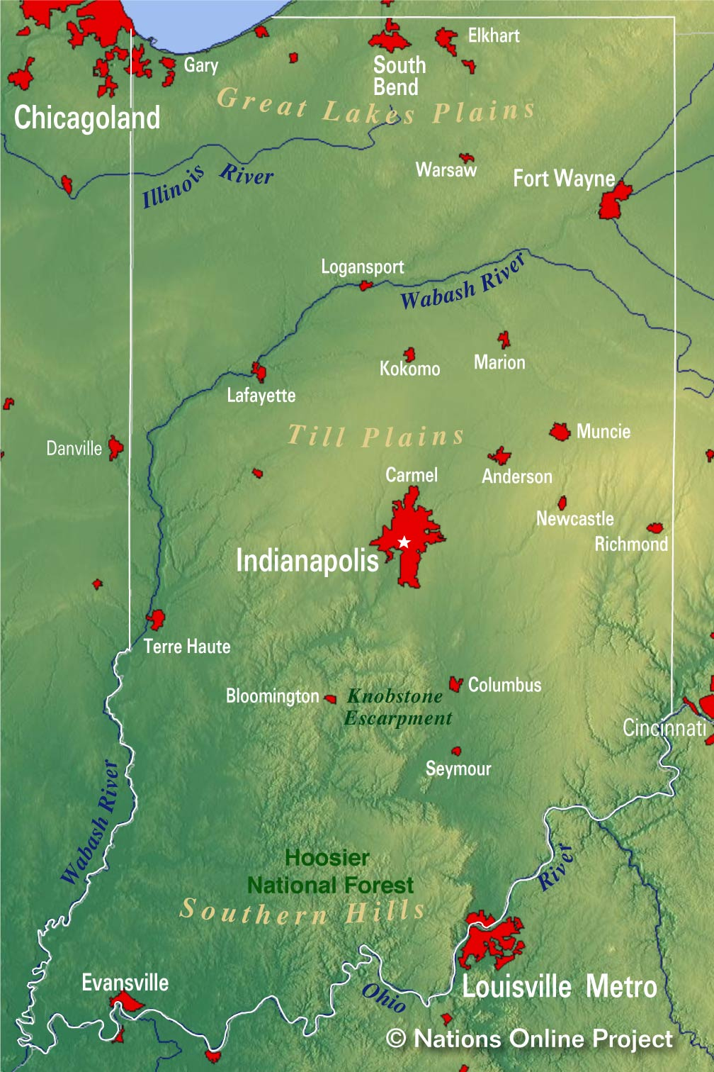 Upland Indiana Map.Reference Maps Of Indiana Usa Nations Online Project