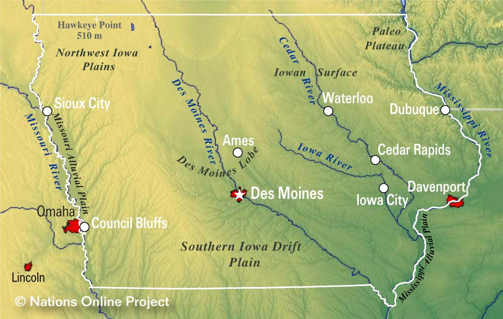 Reference Maps of Iowa, USA - Nations Online Project on