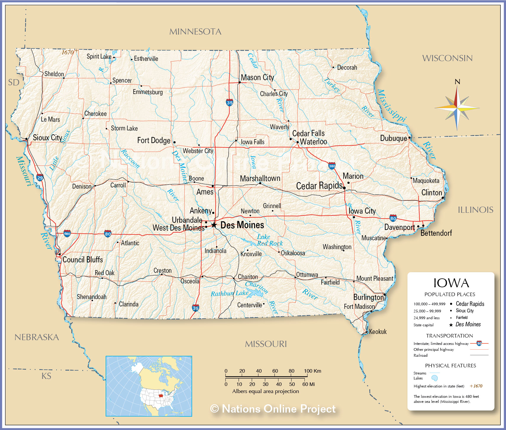 Reference Map Of Iowa USA Nations Online Project - United states map iowa