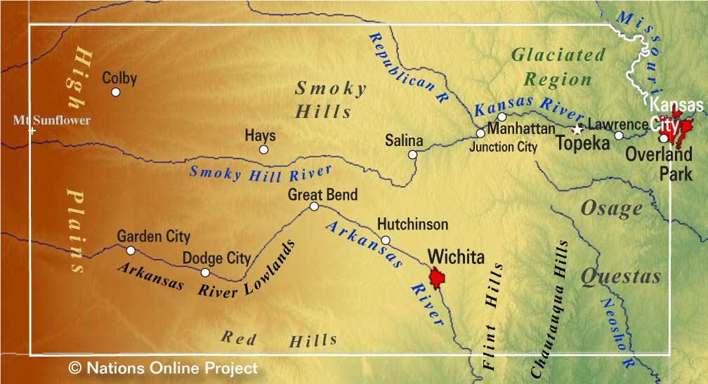 Reference Maps of Kansas, USA - Nations Online Project