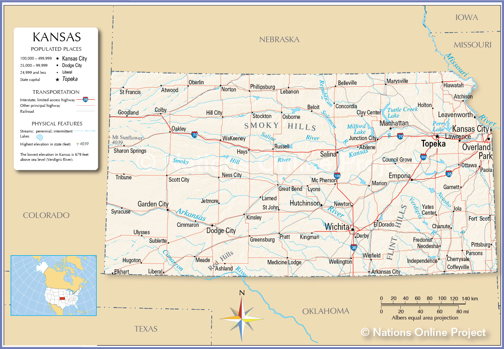 Reference Map Of Kansas USA Nations Online Project - Map of us arkansas