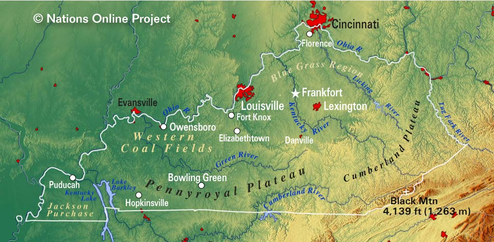 kentucky topographic regions map