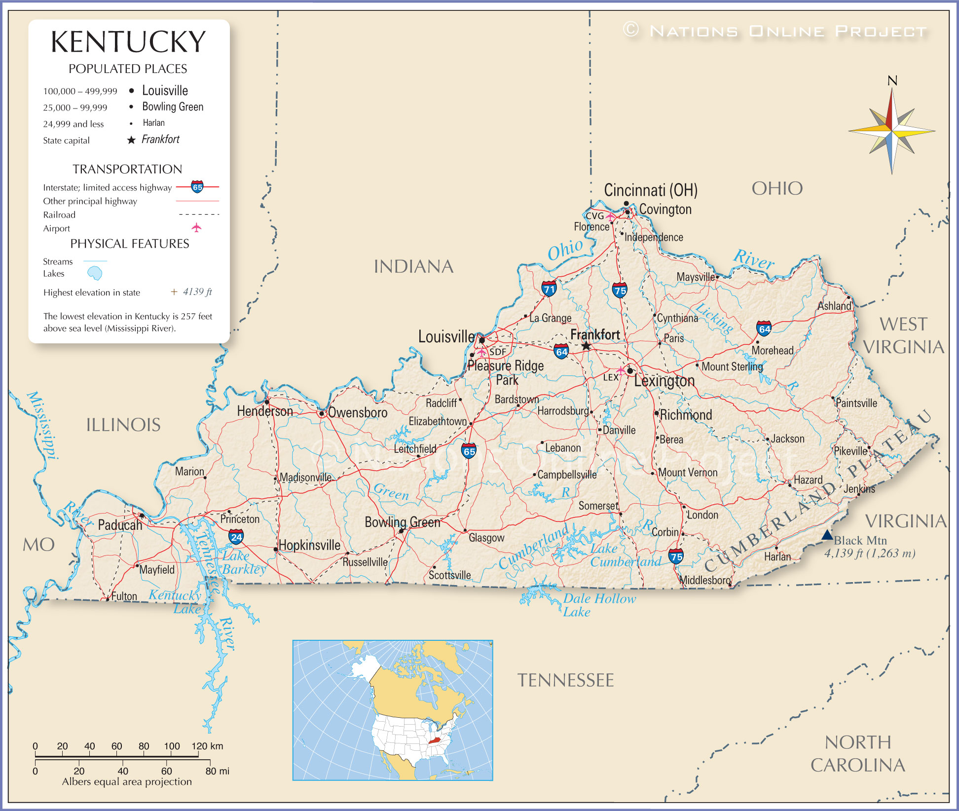 Reference Map Of Kentucky USA Nations Online Project - Eastern us airports map