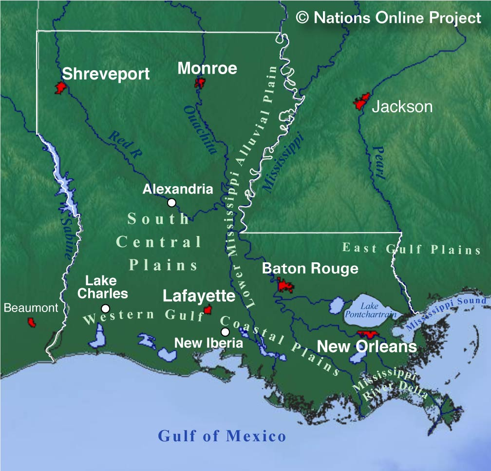 Reference Map of Louisiana USA Nations Online Project