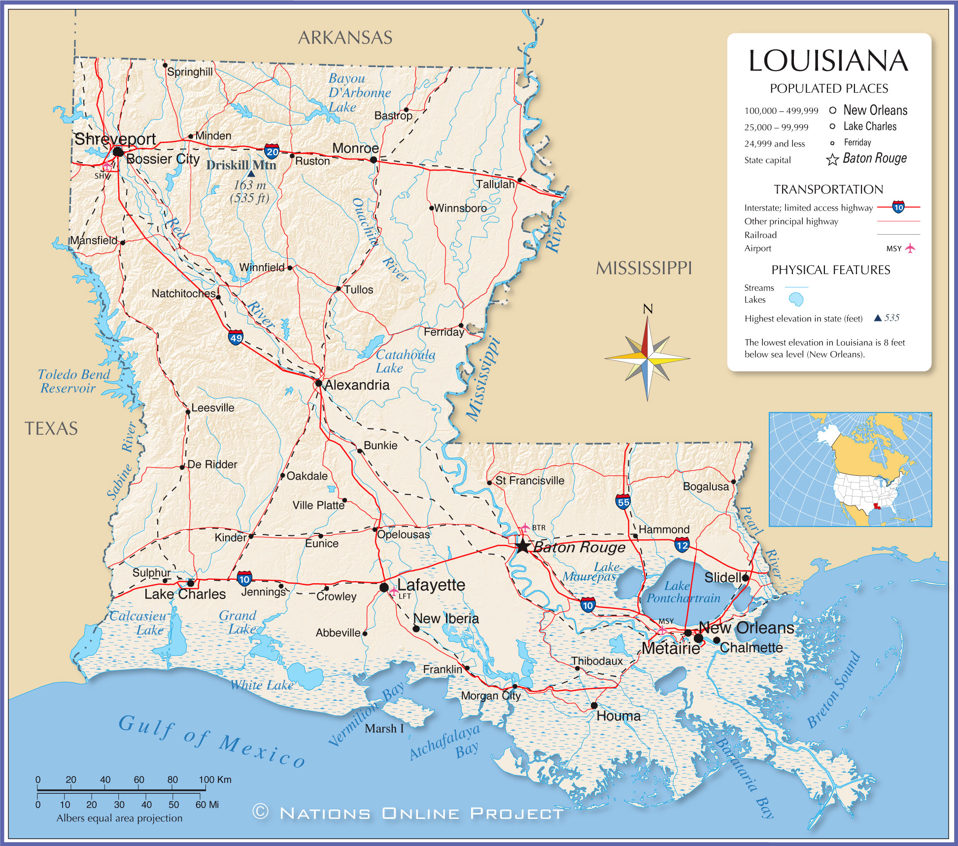 Reference Map Of Louisiana USA Nations Online Project - Map of usa with states and capitals and major cities