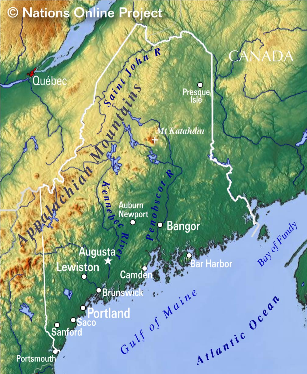 Topography Map Of Maine.Reference Maps Of Maine Usa Nations Online Project