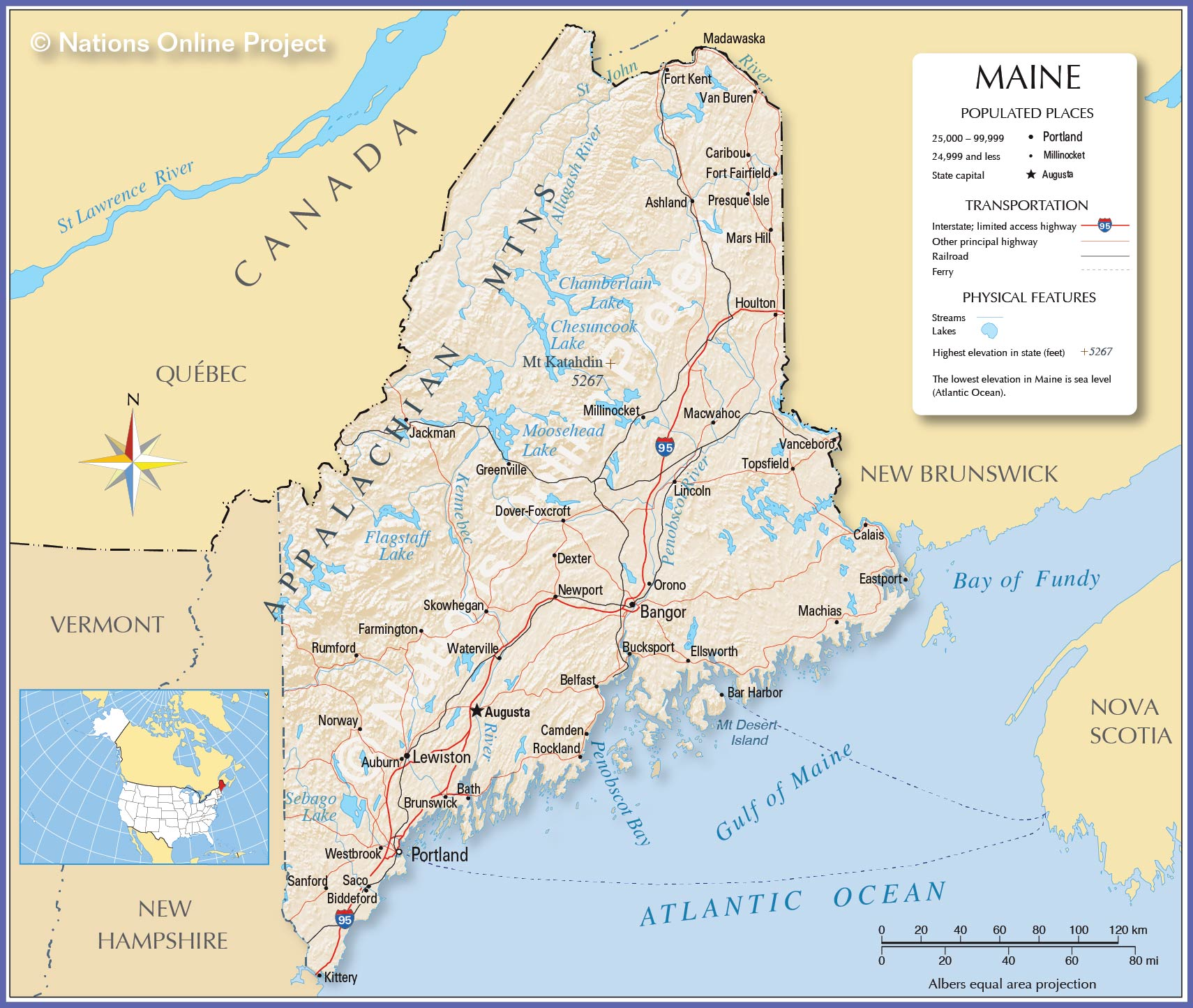Reference Map Of Maine USA Nations Online Project - Maine state usa map