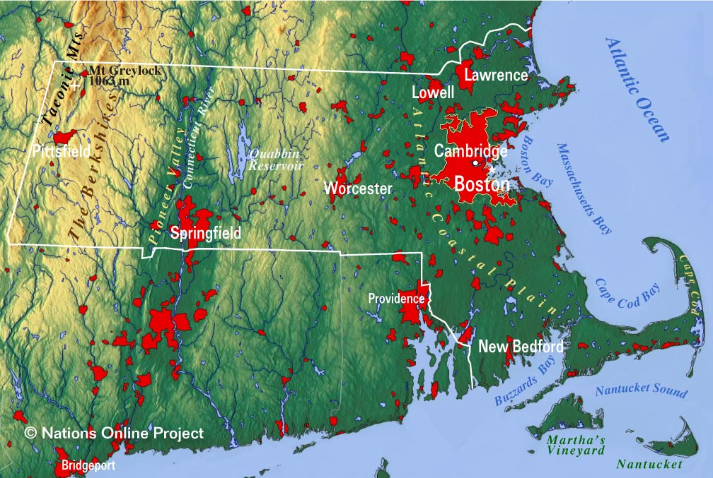 Reference Maps of Massachusetts USA Nations Online Project