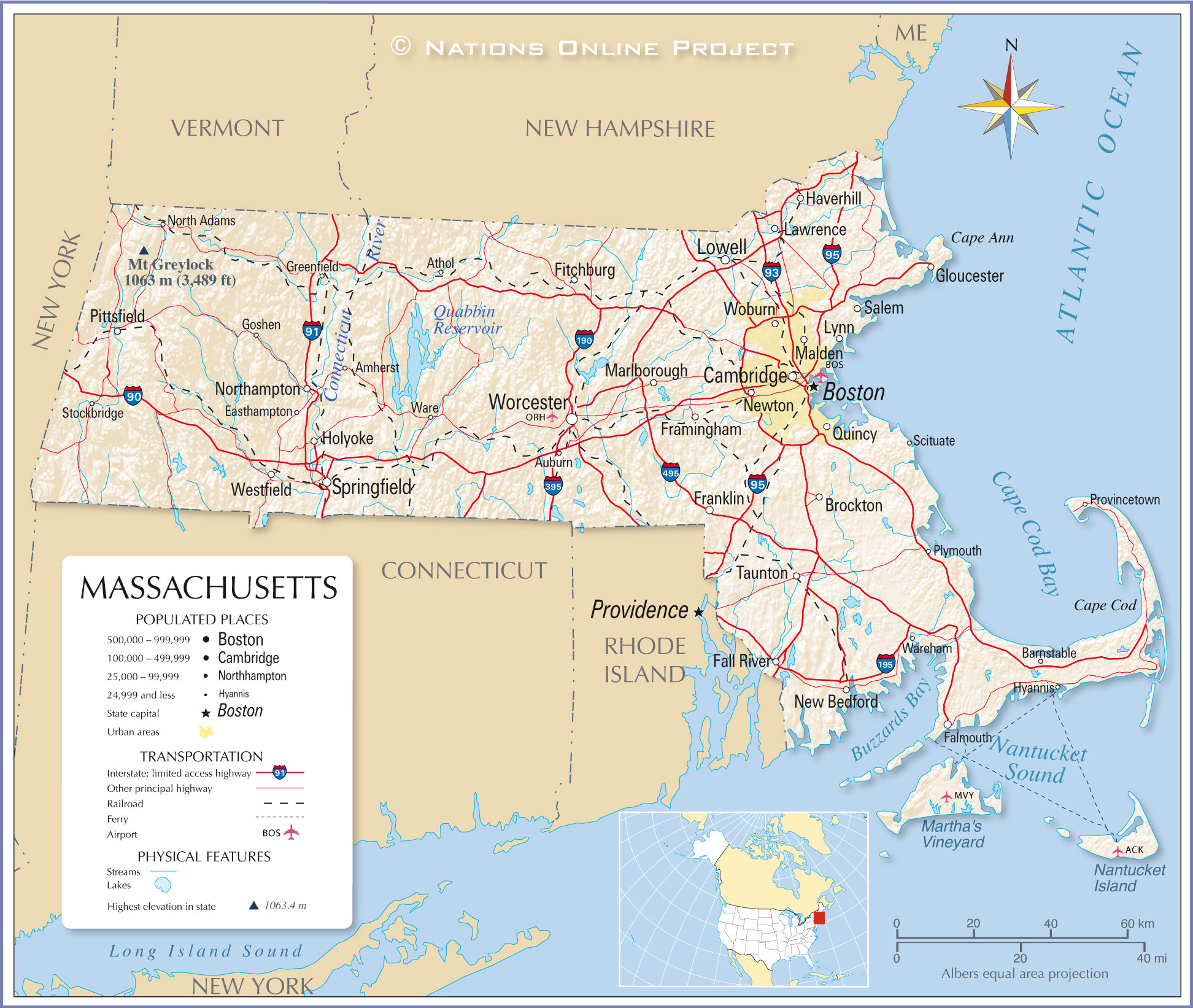 Reference Map Of Massachusetts USA Nations Online Project - Massachusetts physical map
