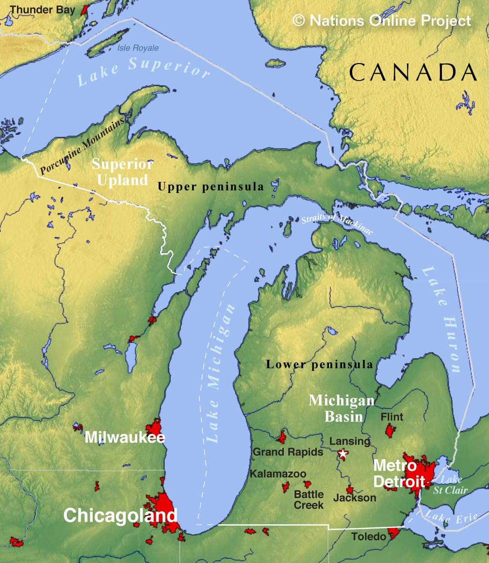 Reference map of michigan usa nations online project michigan topographic regions map gumiabroncs Images