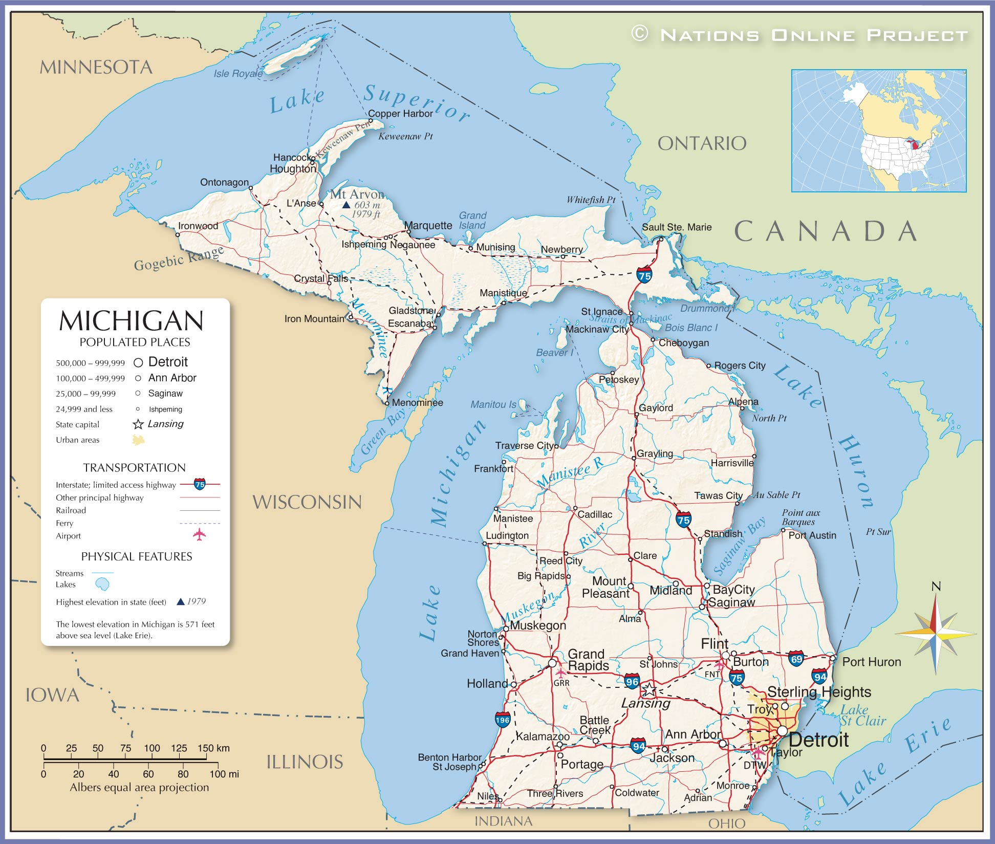 Map Of Michigan And Canada Border Map of the State of Michigan, USA   Nations Online Project