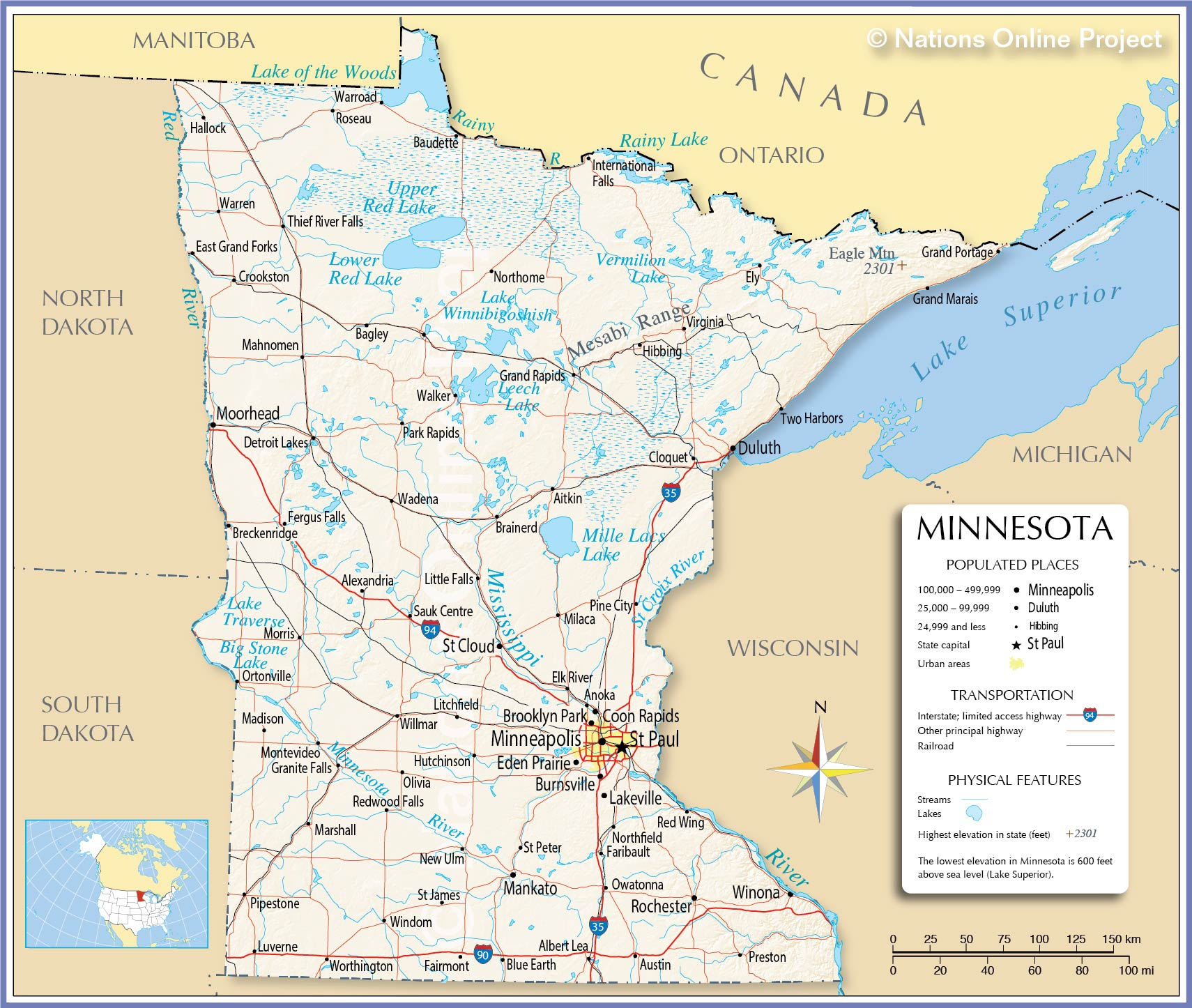 Reference Map Of Minnesota USA Nations Online Project - Minnesota rivers map