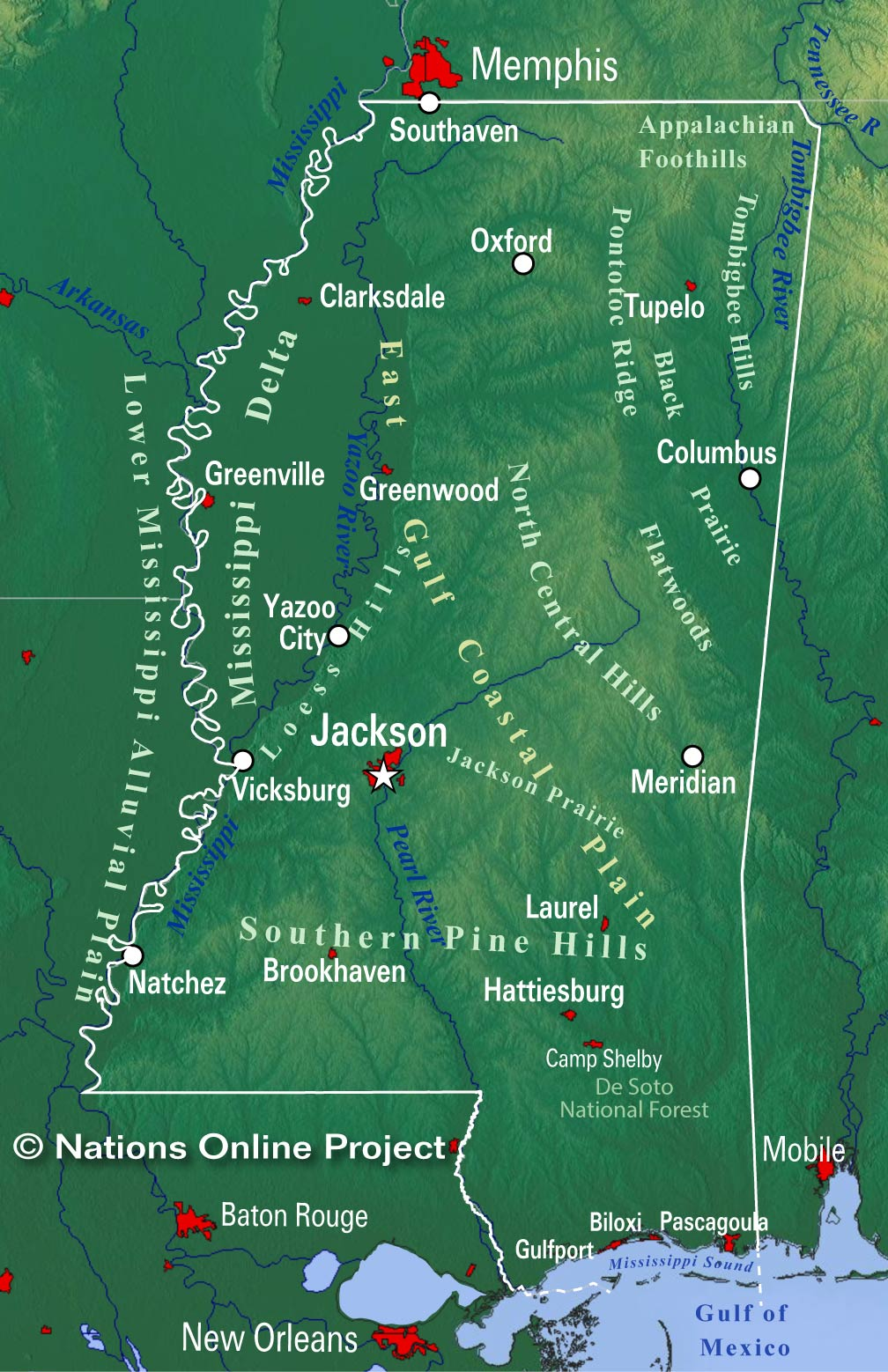 Mississippi Topographic Regions Map