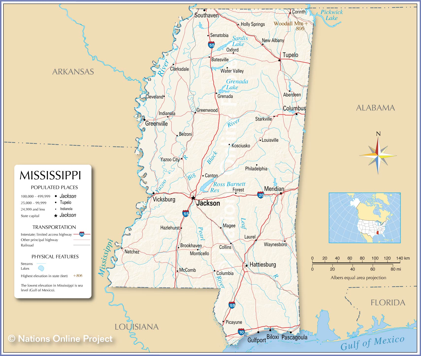 Reference Map Of Mississippi Nations Online Project - Maps mississippi