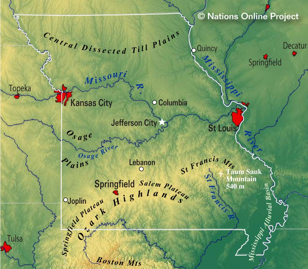 Reference Maps Of Missouri USA Nations Online Project - St Louis Missouri On Map Of Us