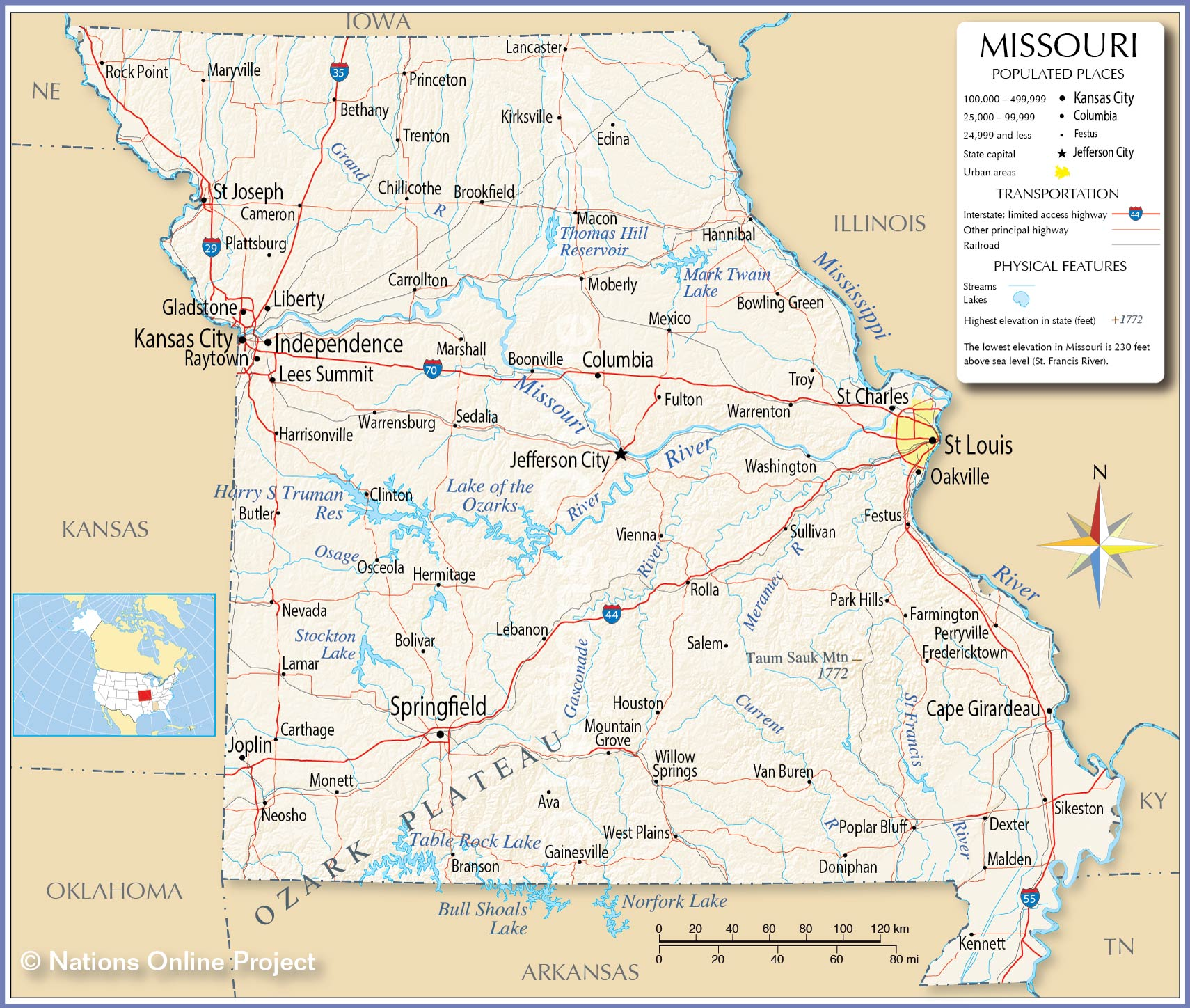 Reference Map Of Missouri USA Nations Online Project - Map of usa with states and capitals and major cities