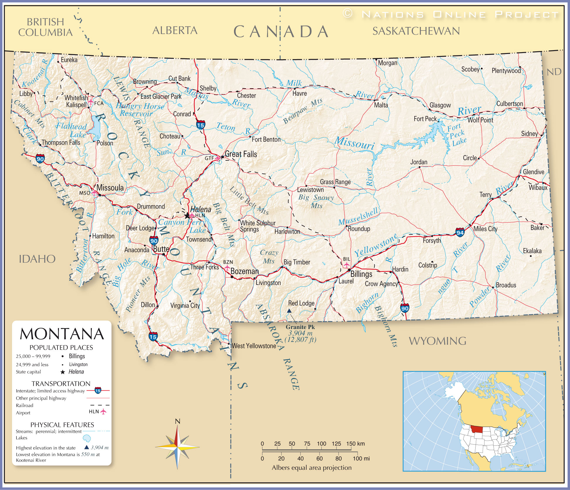 Reference Map Of Montana USA Nations Online Project - Political map of south dakota