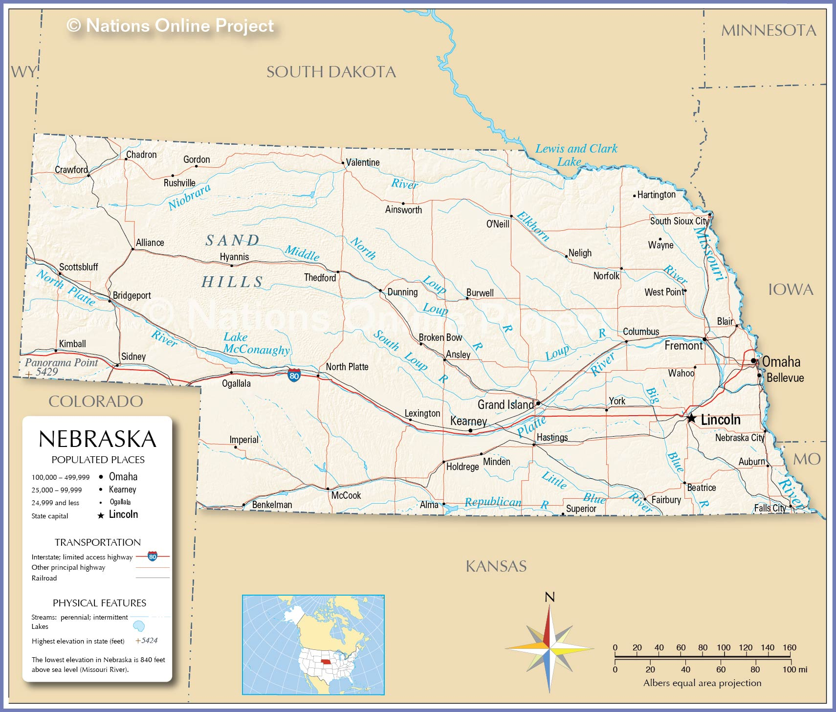 Reference Map Of Nebraska USA Nations Online Project - Nebraska on us map