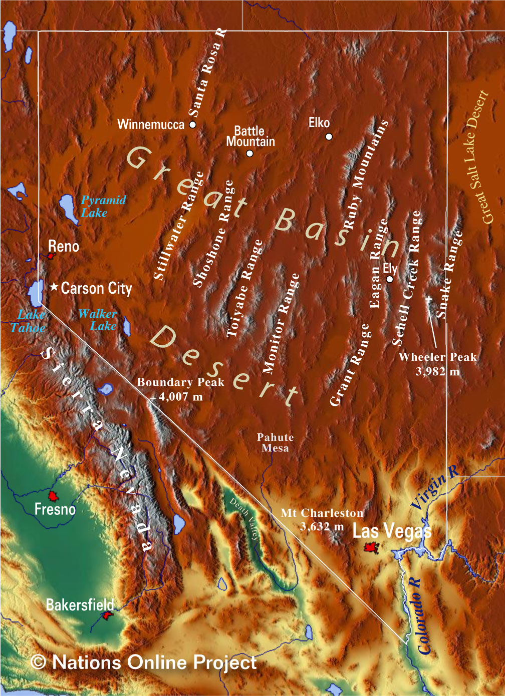 Nevada Topographic Regions Map