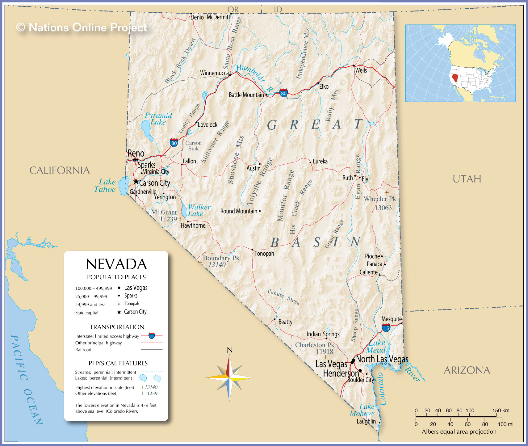 Reference Map Of Nevada USA Nations Online Project - Maps of nevada