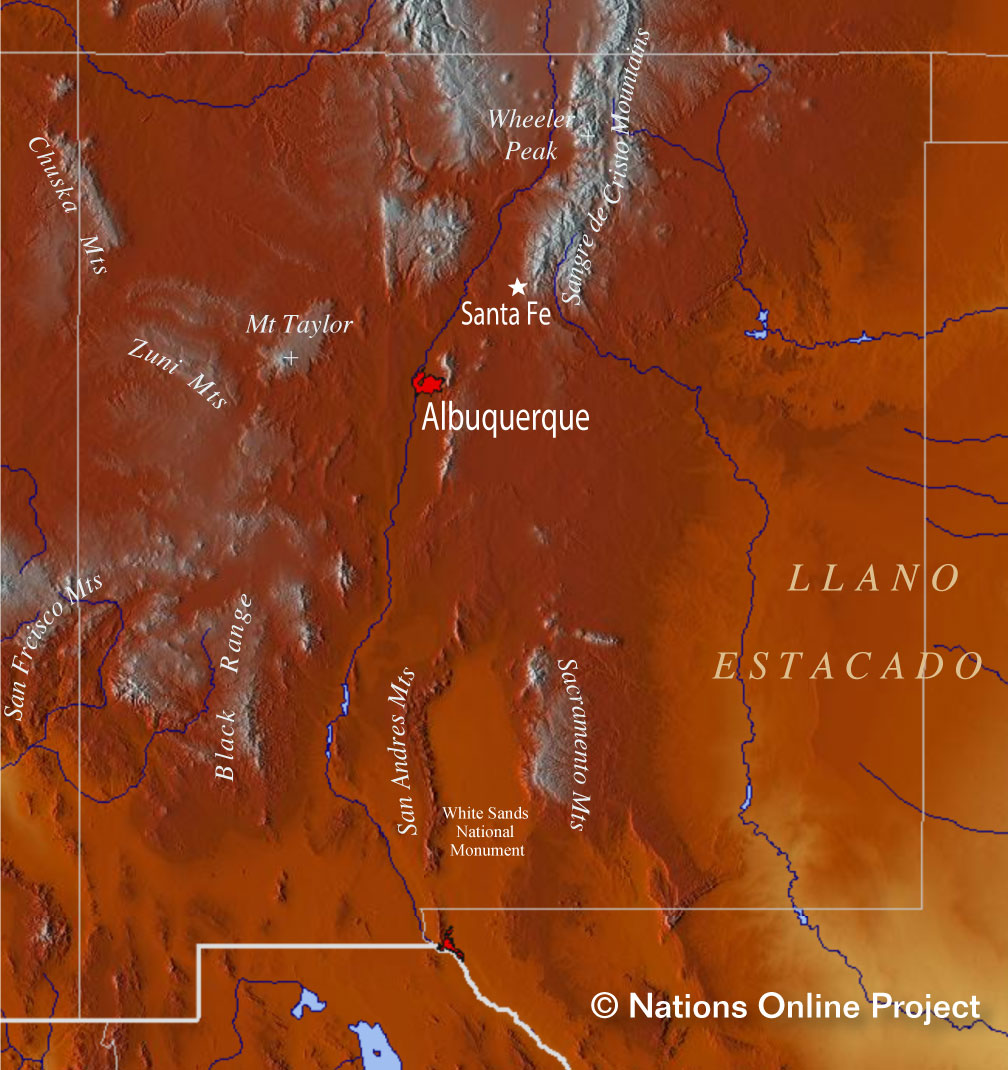 Reference Maps of New Mexico USA Nations Online Project
