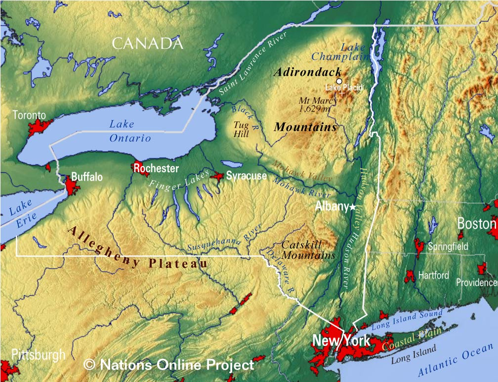 Map Of New York State And Canada.Reference Maps Of The State Of New York Usa Nations Online Project