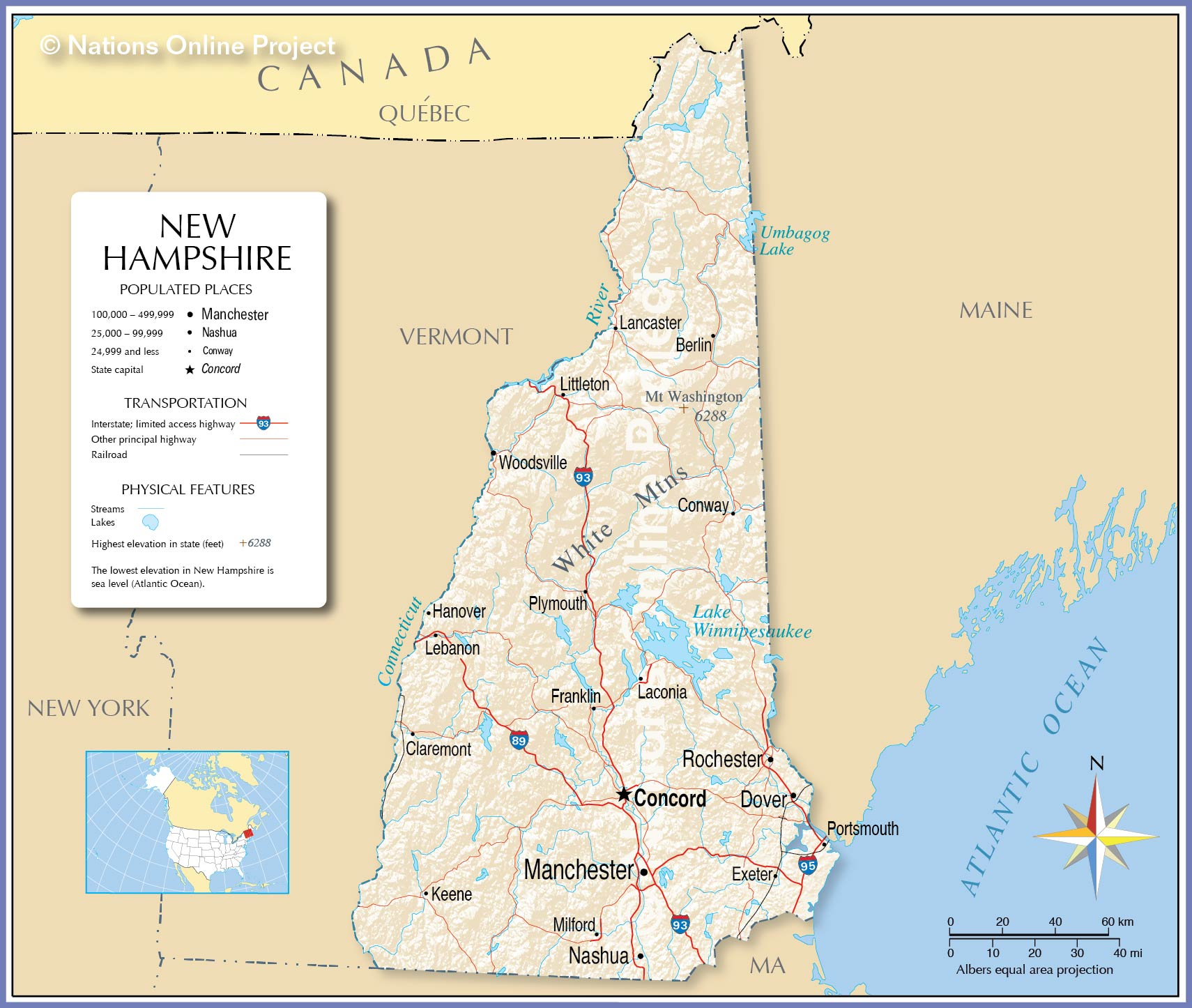 Reference Map Of New Hampshire USA Nations Online Project - Map of new hampshire towns