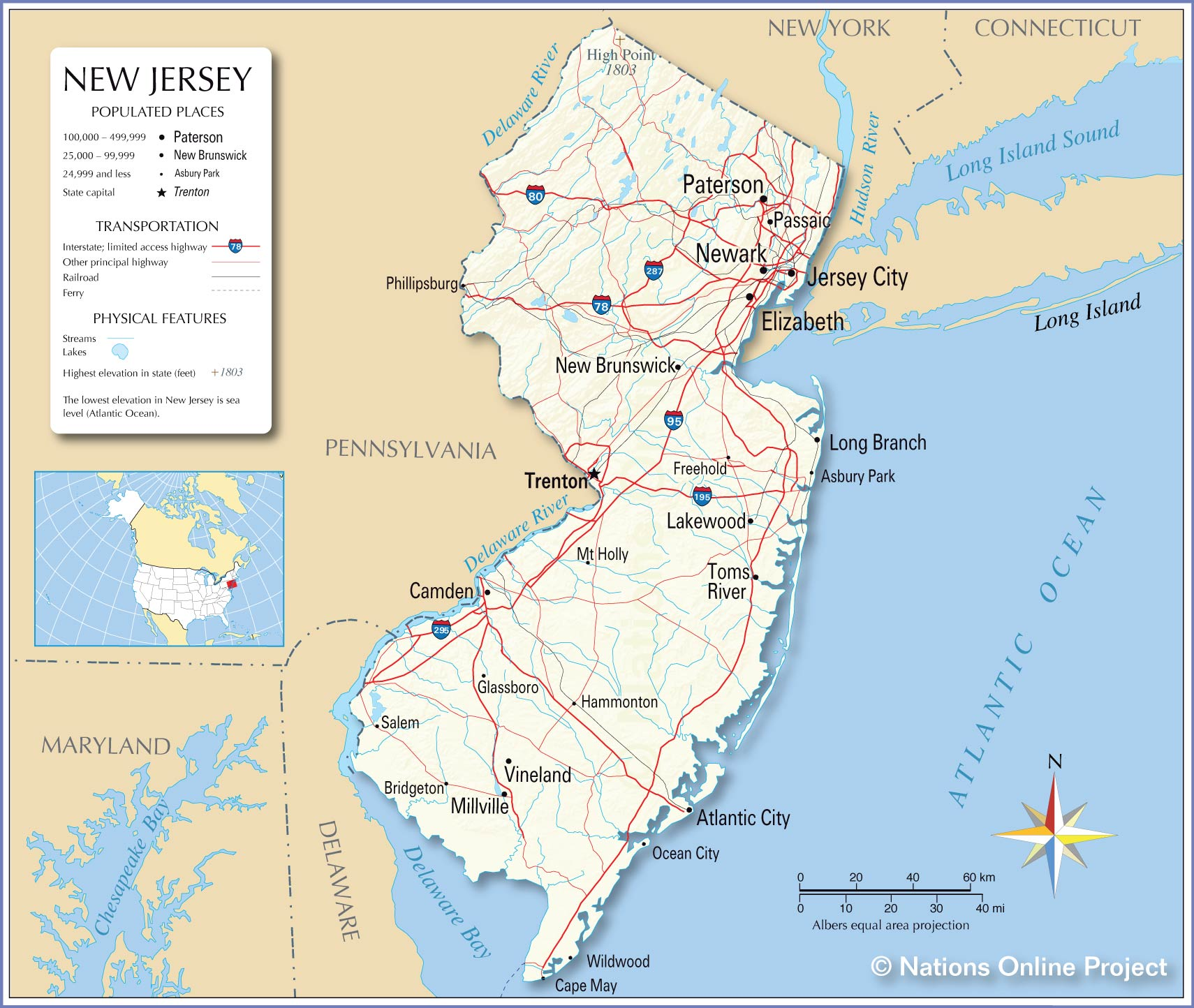Reference Map Of New Jersey USA Nations Online Project - Us map with cities and rivers