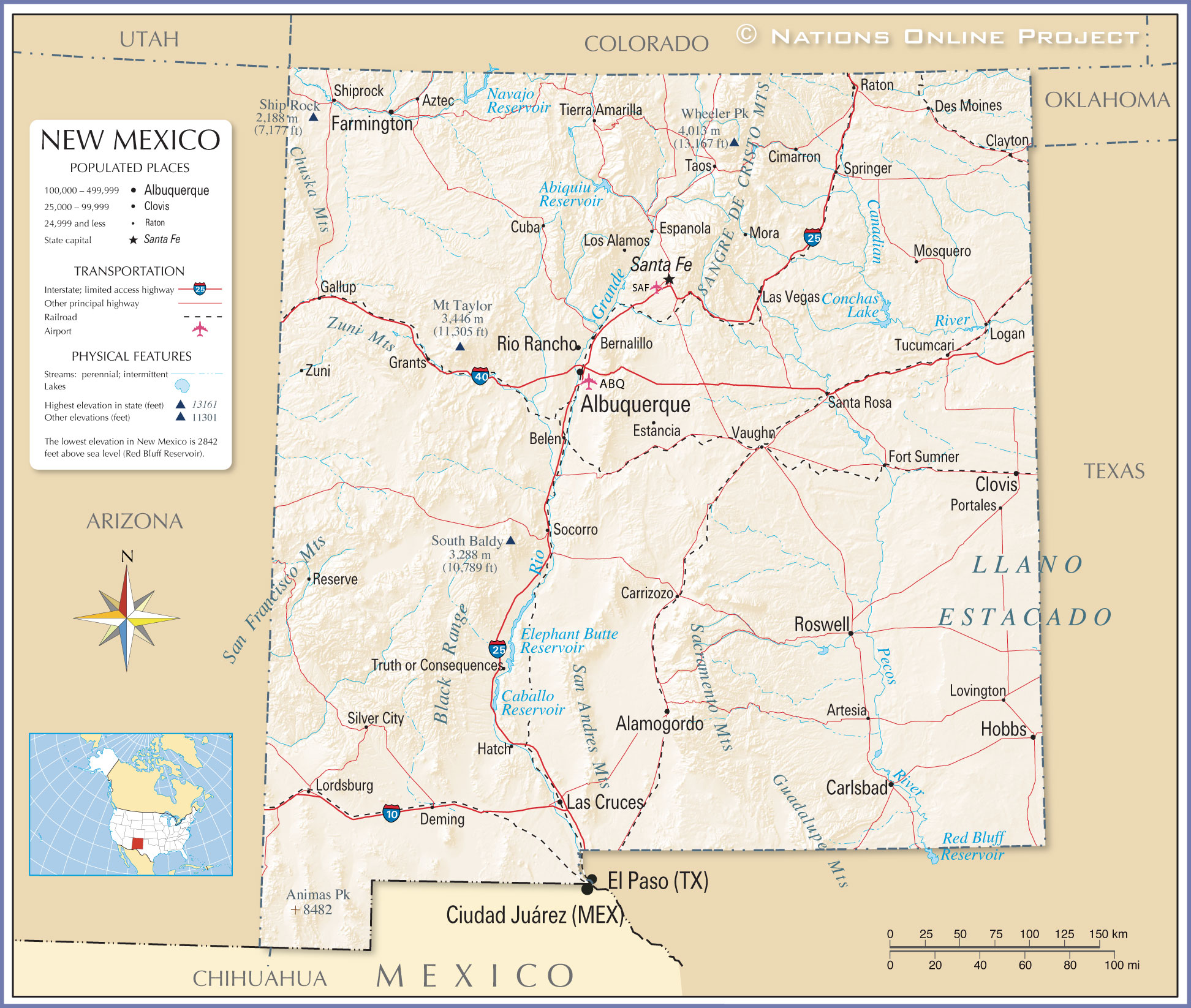 Reference Maps of New Mexico USA Nations line Project