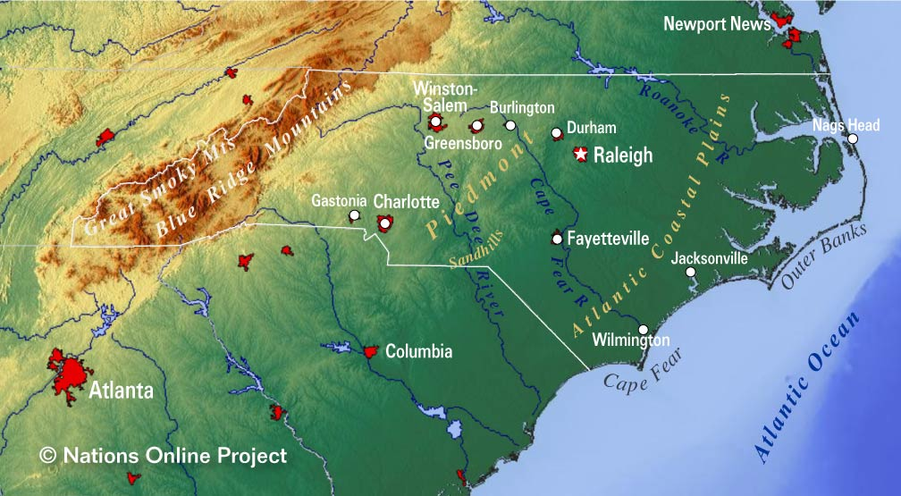 Charlotte Nc Map Usa.Reference Maps Of North Carolina Usa Nations Online Project