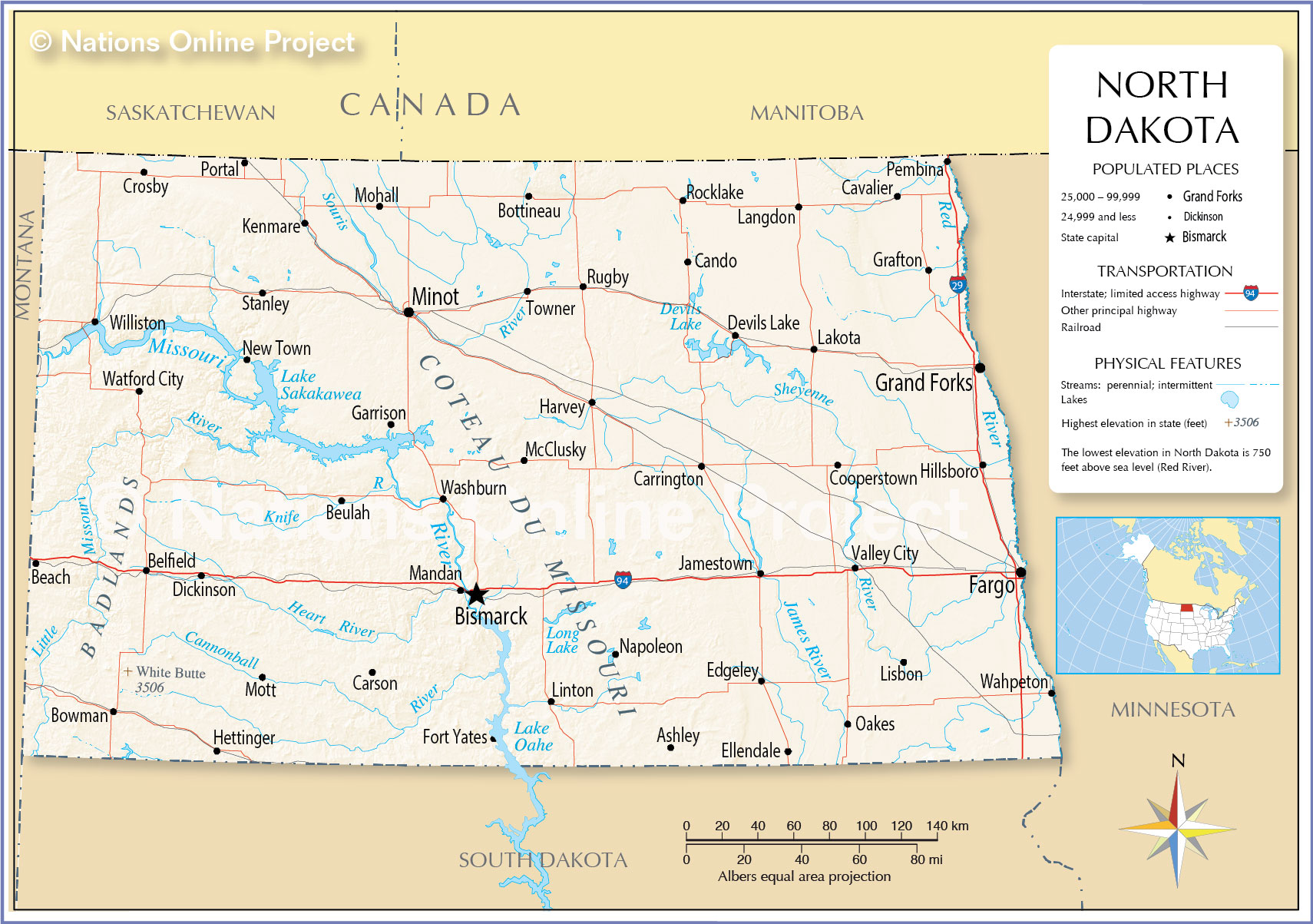 Reference Map Of North Dakota USA Nations Online Project - Most populated cities in us map