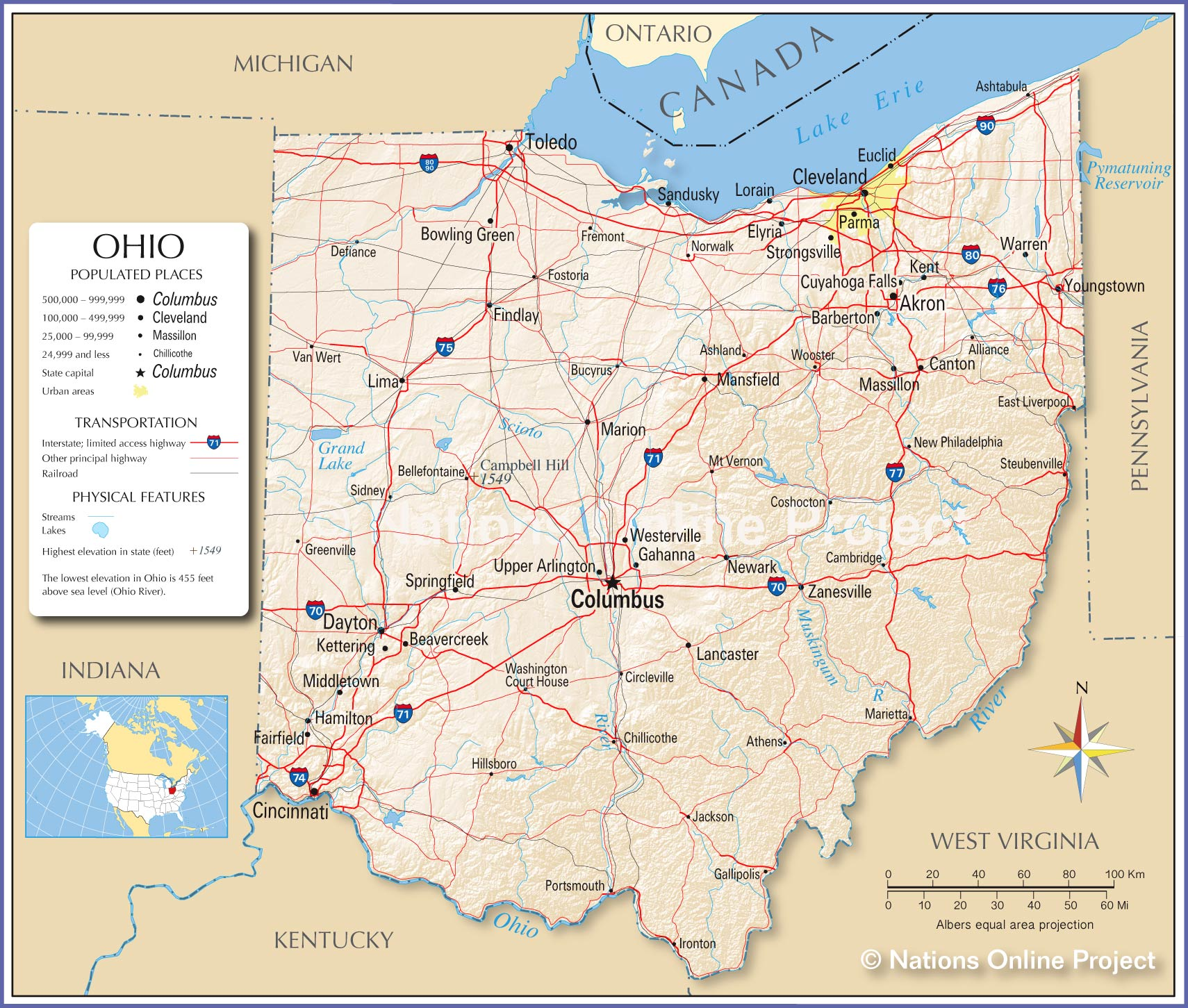 Reference Map Of Ohio USA Nations Online Project - Usa map with cities and capitals