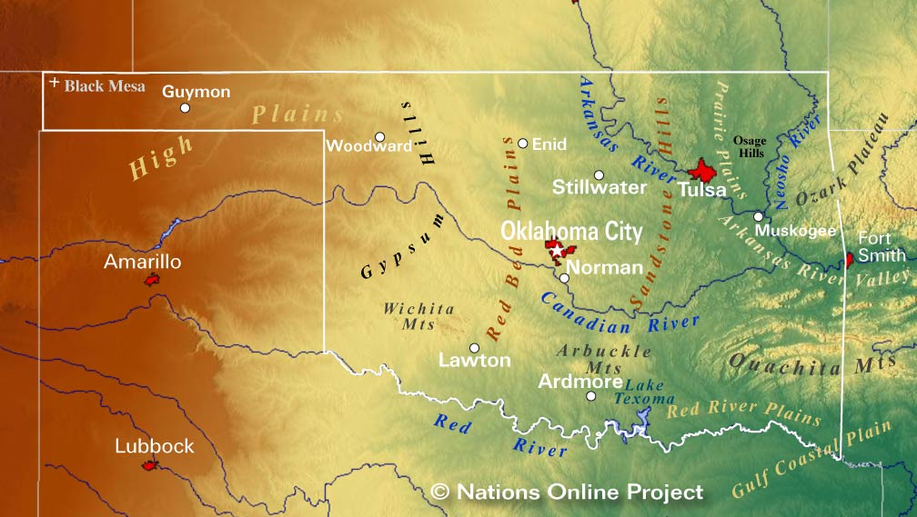 Reference Maps of Oklahoma, USA - Nations Online Project