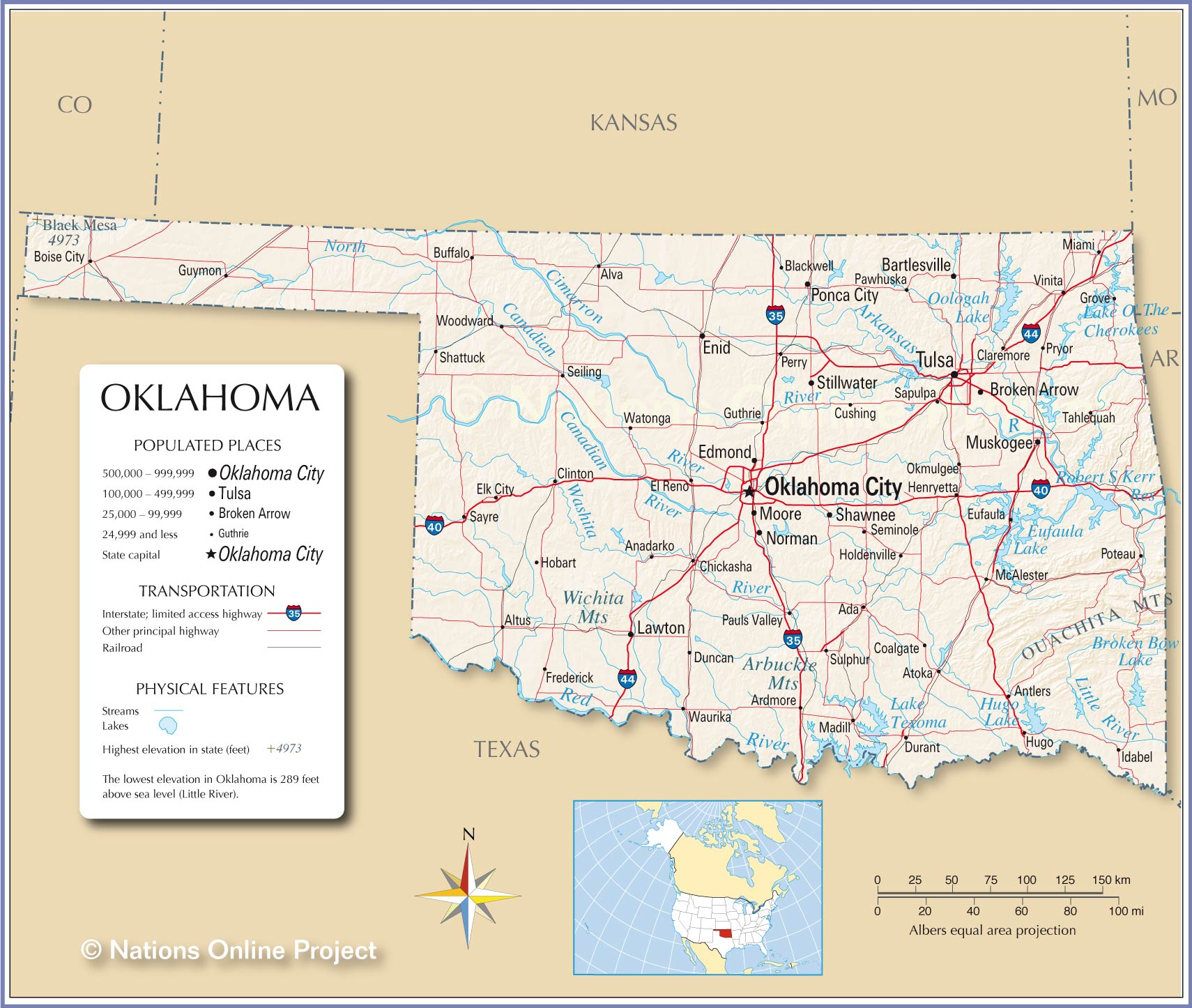 Reference Map Of Oklahoma USA Nations Online Project - Oklahoma map of lakes