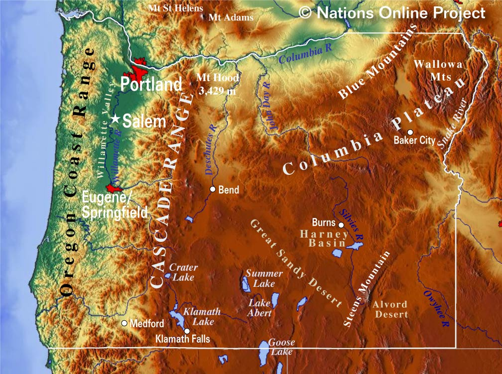 Oregon Topographic Regions Map