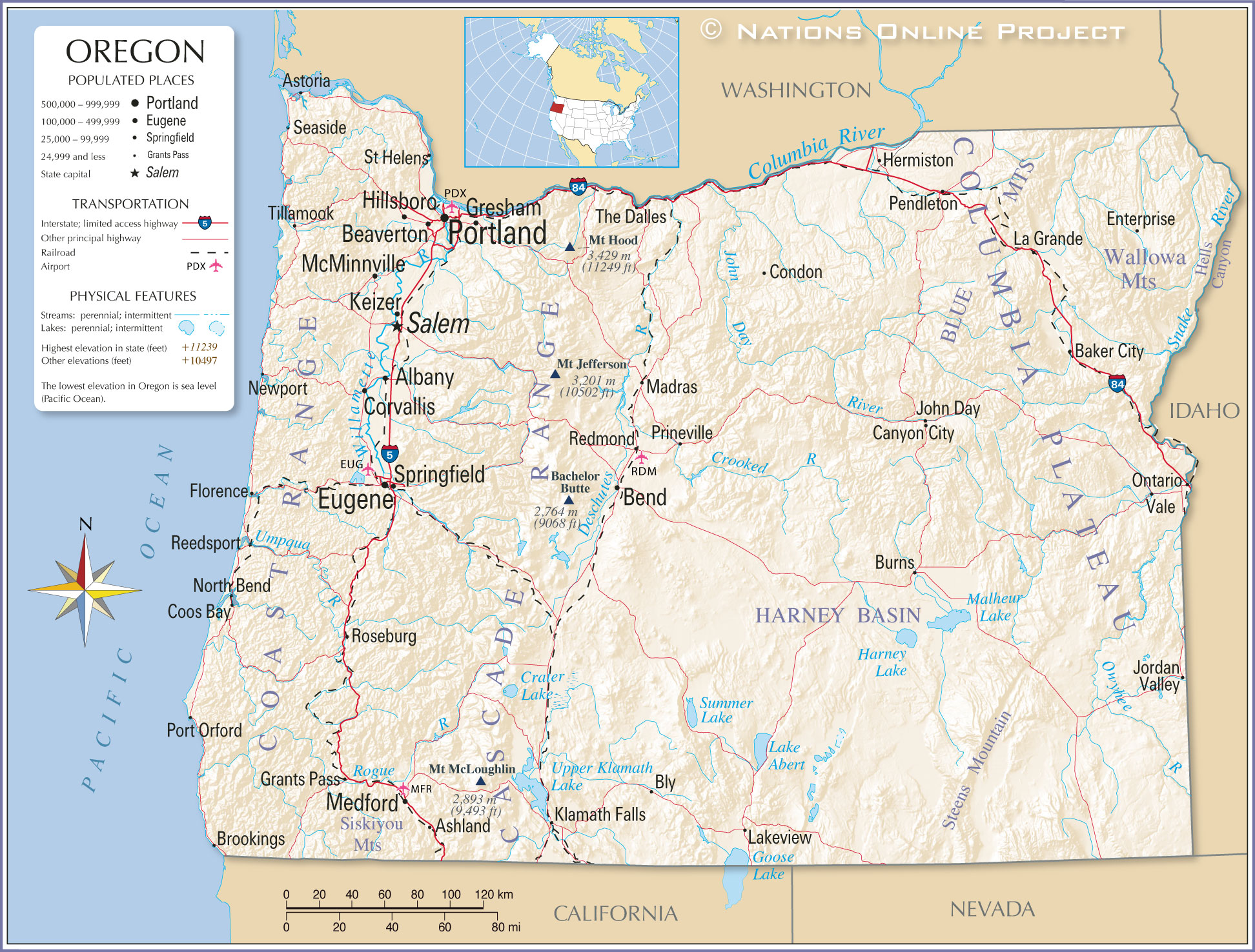 Reference Map Of Oregon USA Nations Online Project - Usa map with cities and states detailed