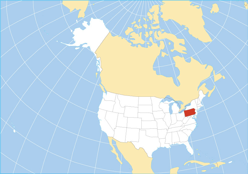 Reference Maps Of Pennsylvania Usa Nations Online Project - Pennsylvania-on-the-us-map