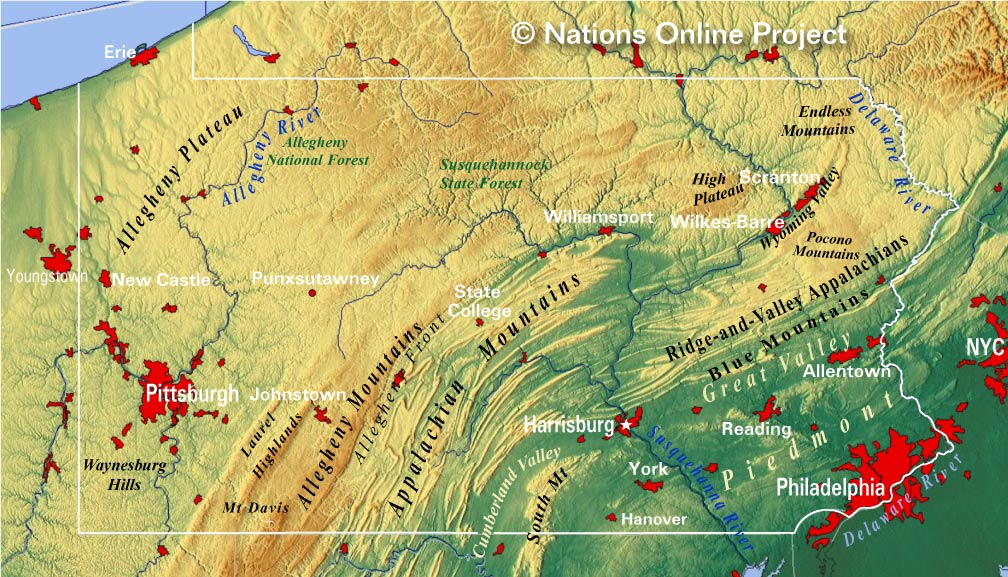 Reference Map Of Pennsylvania USA Nations Online Project - Map of pennsylvania