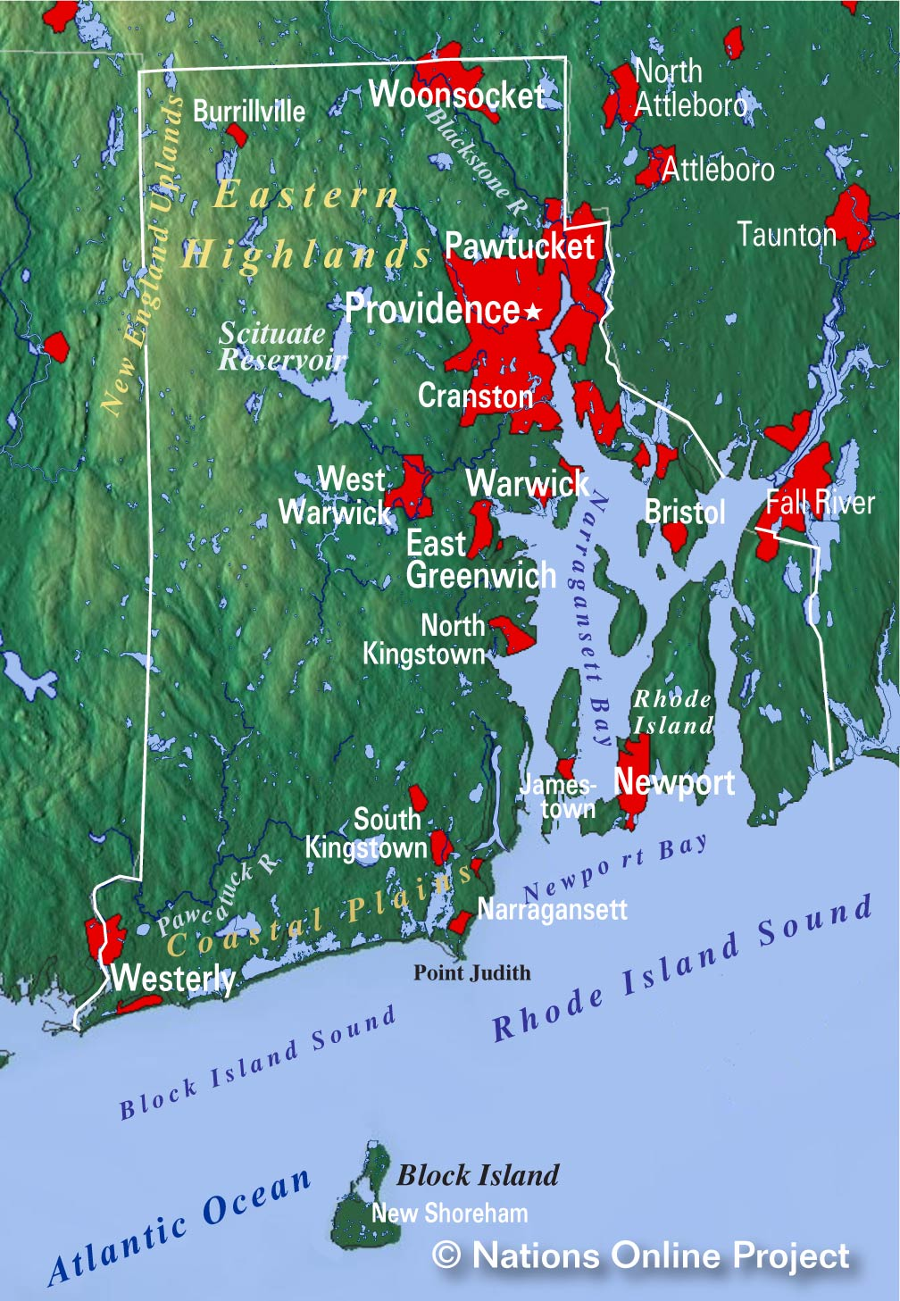 Reference Map of Rhode Island USA Nations Online Project