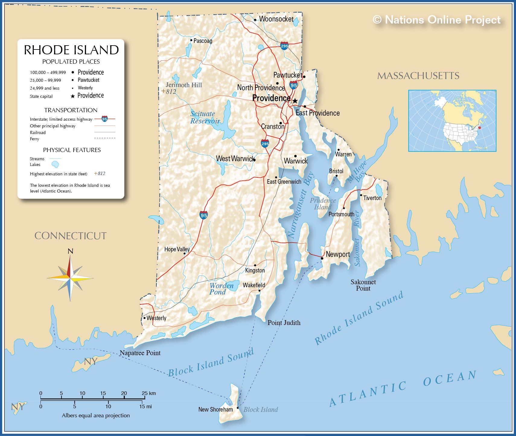 Reference Map Of Rhode Island USA Nations Online Project - Usa map rhode island