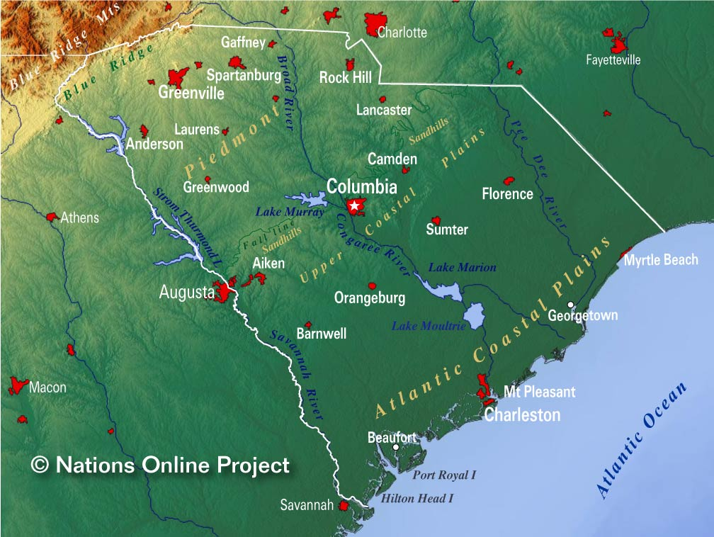 Reference Maps of South Carolina, USA - Nations Online Project