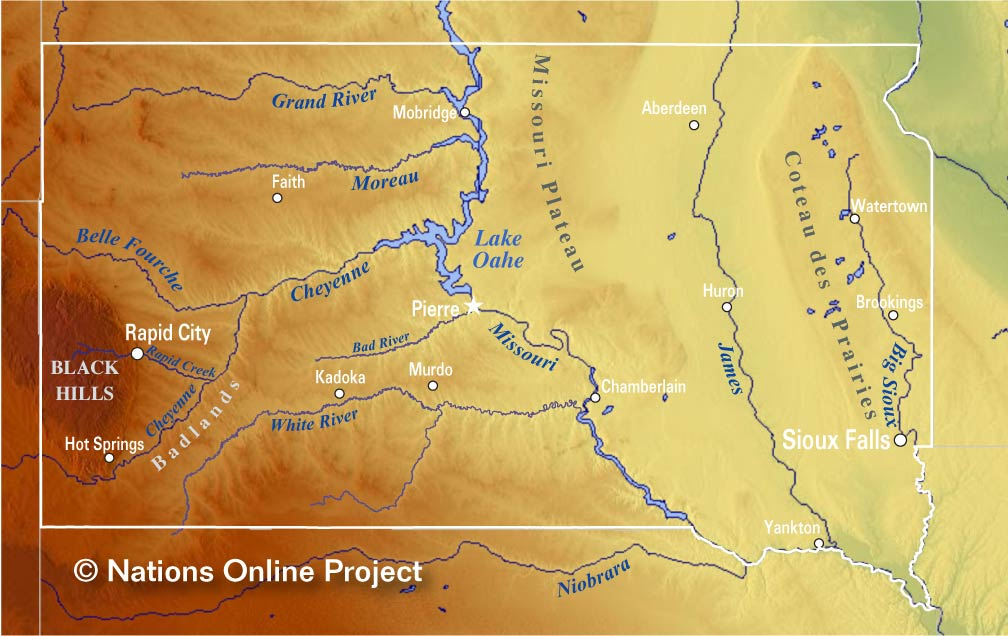 Reference Map Of South Dakota USA Nations Online Project - Map of south dakota