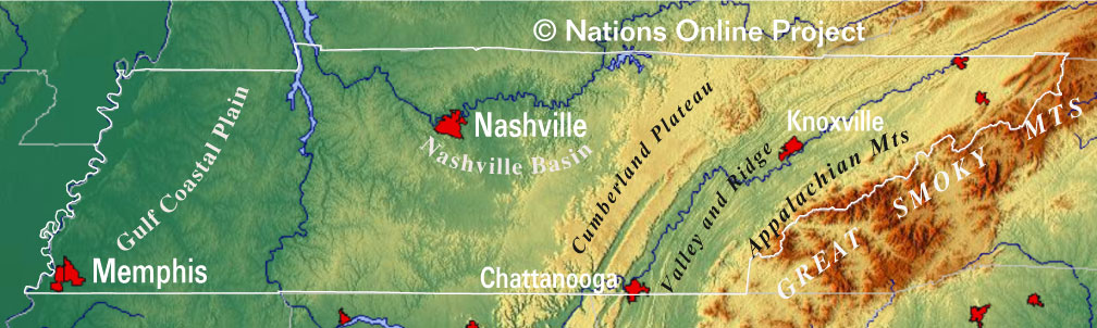 Reference Maps of Tennessee, USA - Nations Online Project