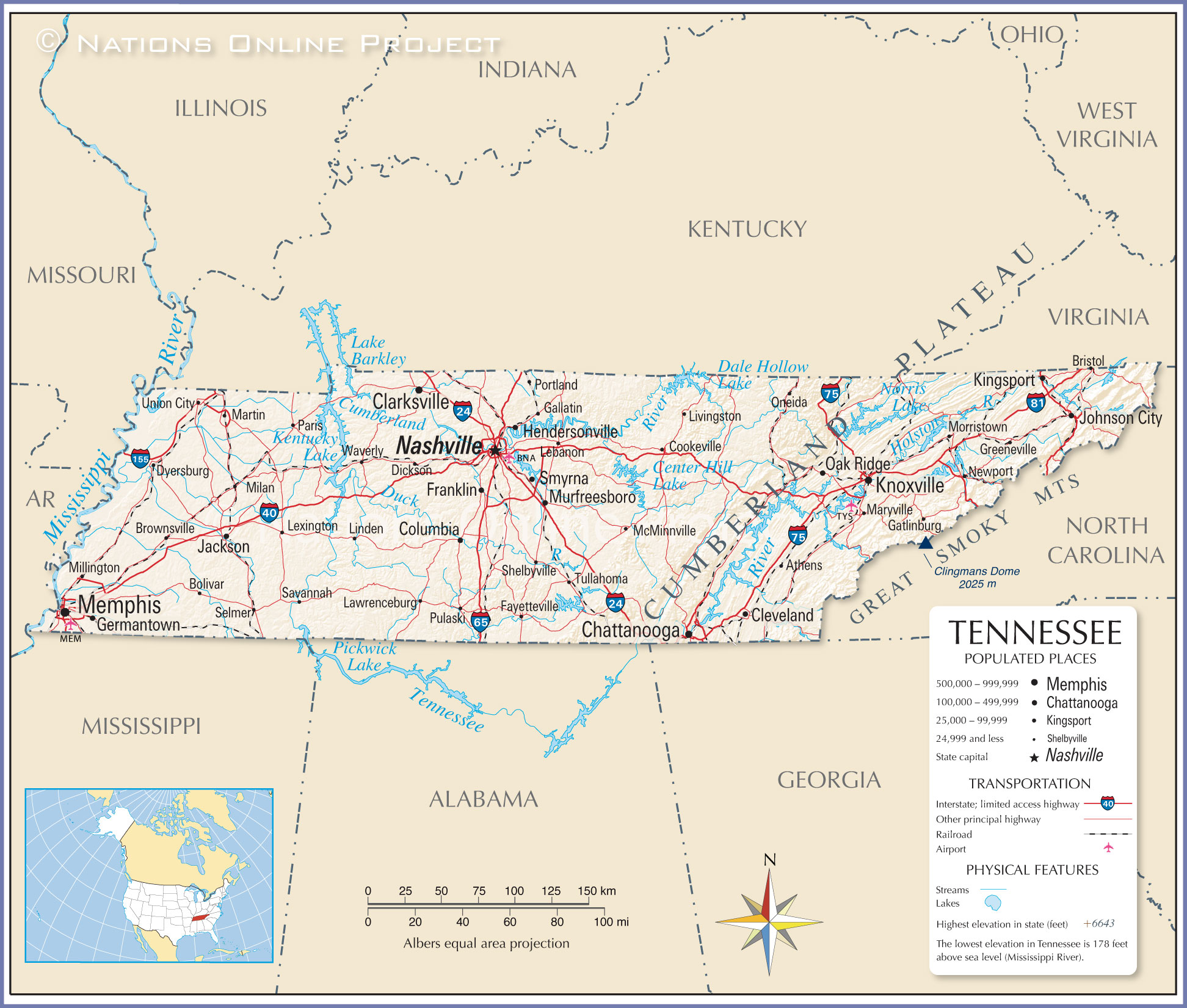 Reference Map Of Tennessee USA Nations Online Project - Tennessee waterways map