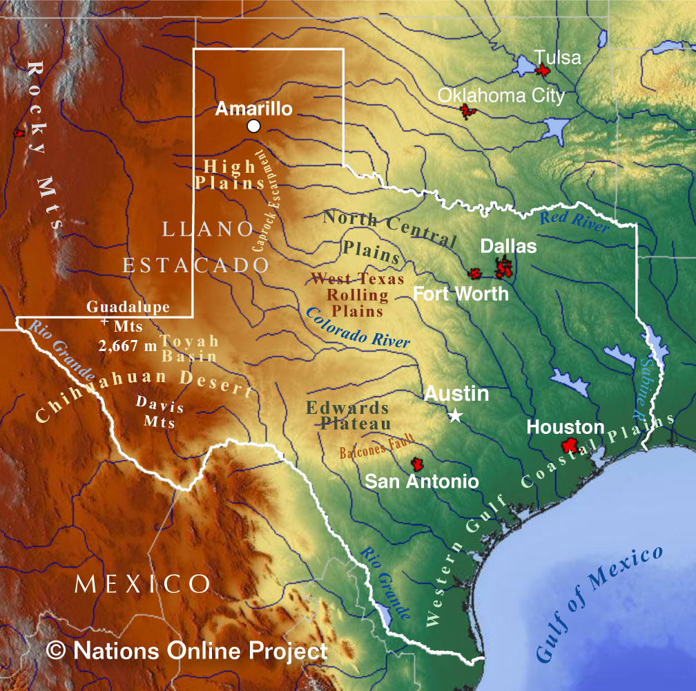 Texas Topographic Regions Map